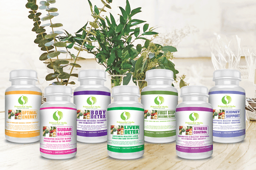 Herbal formulas from the Signature Glucose Program on a table with plants in the backround