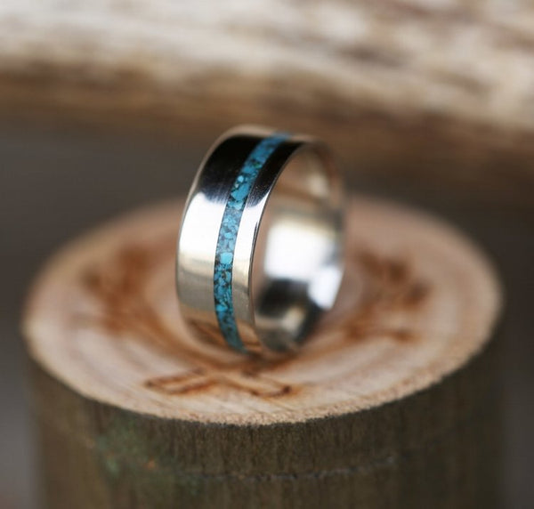 """VERTIGO"" RING WITH YOUR CHOICE OF INLAY - SIZE 8 1/2"