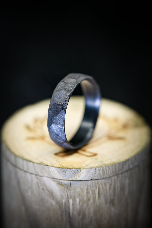 FACETED BLACK ZIRCONIUM BAND 6.5MM WIDE- SIZE 12 1/2