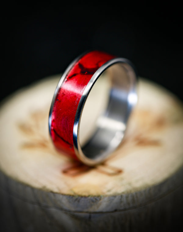 """RAINIER"" IN TITANIUM WITH A RED PATINA COPPER INLAY - SIZE 13 3/4"