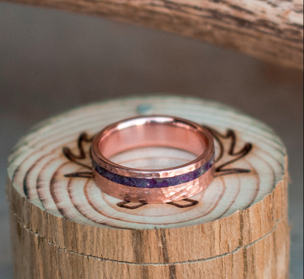 """VERTIGO"" RING WITH YOUR CHOICE OF INLAY - SIZE 8 3/4"
