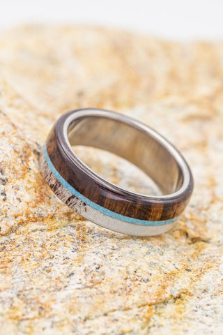 """""""Banner"""" wedding ring with wood, turquoise, and antler"""