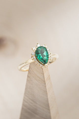 """""""Laverna"""" Emerald Engagement Ring With Diamond Accents"""