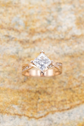 """""""Lina"""" princess cut moissanite engagement ring with diamond accents"""