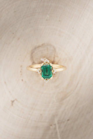 """""""May"""" Emerald Engagement Ring With Diamond Accents"""