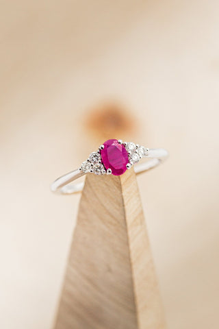 """""""Rhea"""" 14K Gold Engagement Ring With Lab Created Ruby & Diamond Accents"""