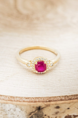 """""""Cyra"""" 14K Gold Engagement Ring With Lab Created Ruby & Diamond Accents"""