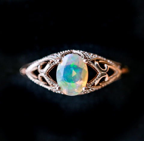 """""""Relica"""" Vintage Style Engagement Ring With Welo Opal from Staghead Designs"""