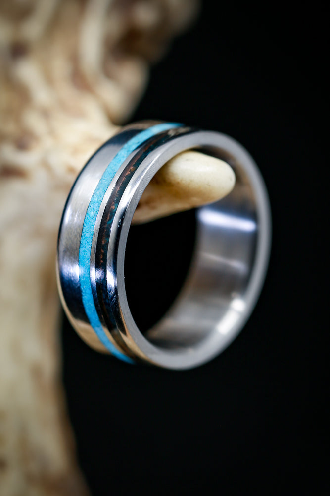 OFFSET TURQUOISE & PATINA COPPER WEDDING BAND (available in titanium, silver, black zirconium, damascus steel & 14K white, rose, or yellow gold) - Staghead Designs - Antler Rings By Staghead Designs