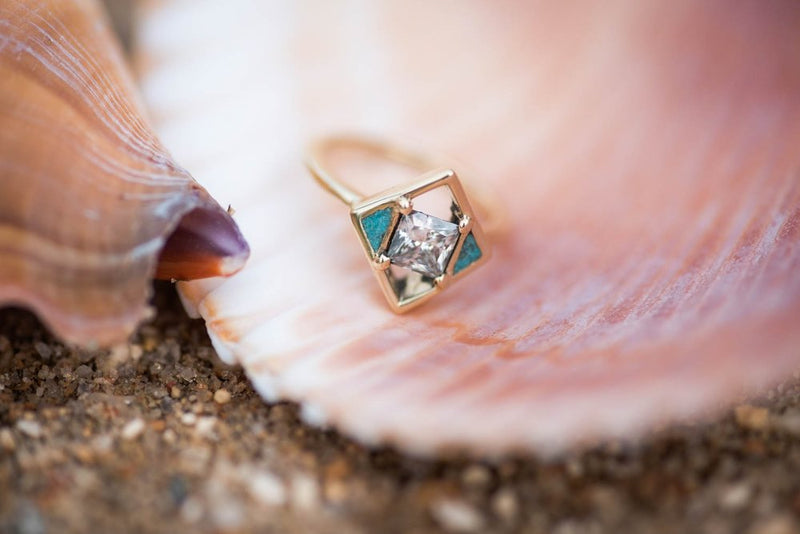 TURQUOISE & 14K GOLD WOMEN'S ENGAGEMENT RING WITH CUSTOM INLAYS (available in 14K rose, yellow, or white gold) -  Custom Rings Handcrafted By Staghead Designs