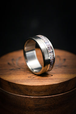 Unique Wedding Ring with Elk Antler and Gold Inlay - Staghead Designs