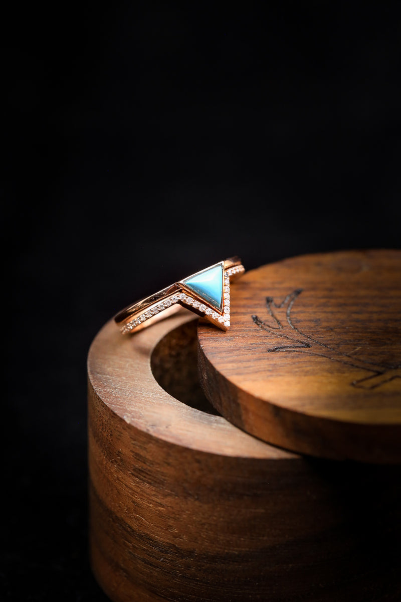 """JENNY FROM THE BLOCK"" WITH HAND CUT TRIANGLE TURQUOISE & DIAMOND TRACER BAND (fully customizable)"