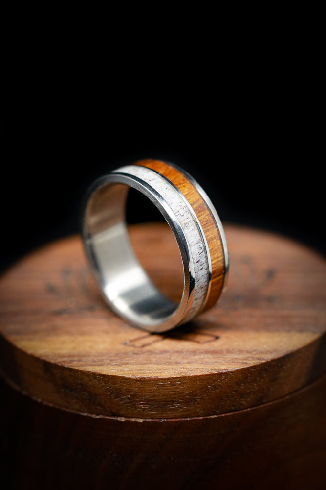 "THE ""RAPTOR"" - MATCHING SET OF ANTLER & WOOD WEDDING BANDS (available in titanium, silver, black zirconium, damascus steel & 14K white, rose or yellow gold) - Staghead Designs - Antler Rings By Staghead Designs"