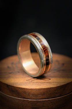 Gold Lined Damascus Steel Wedding Band With Iron wood Inlay On 14K Gold Base -  Staghead Designs