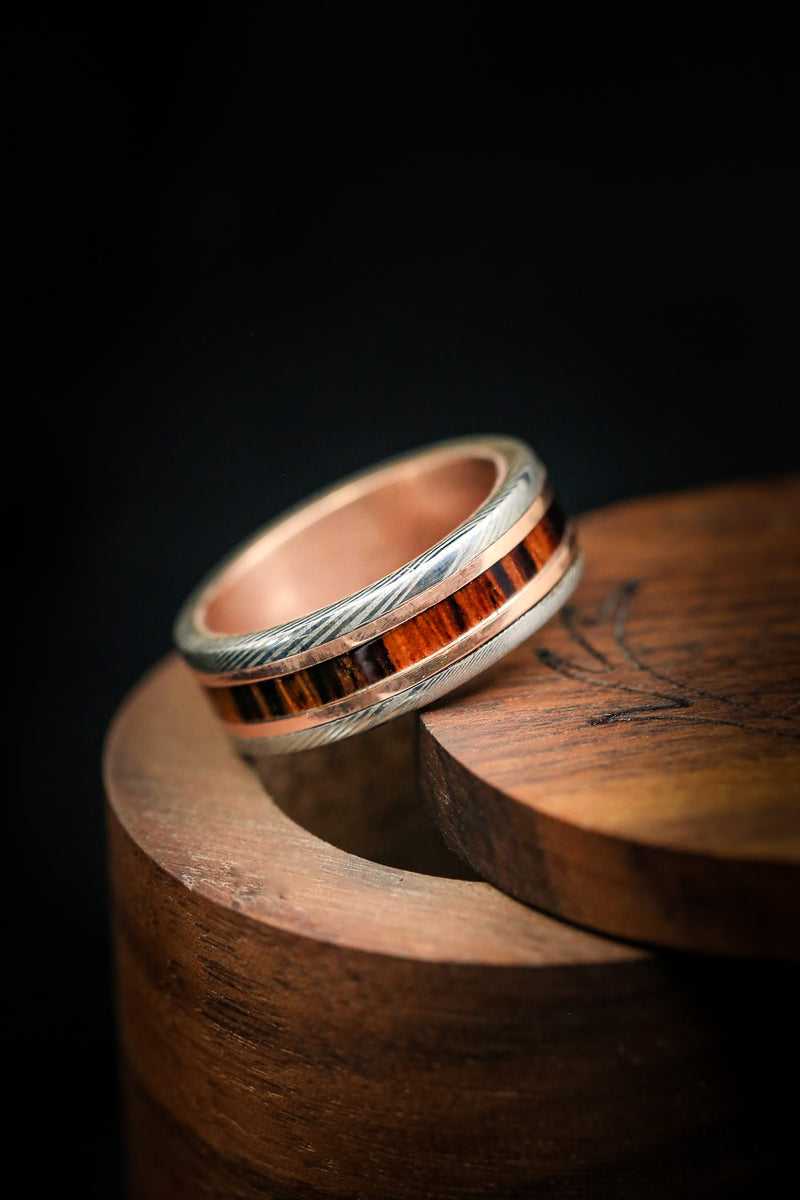 GOLD LINED DAMASCUS STEEL RING WITH GOLD & IRON WOOD INLAY (fully customizable)