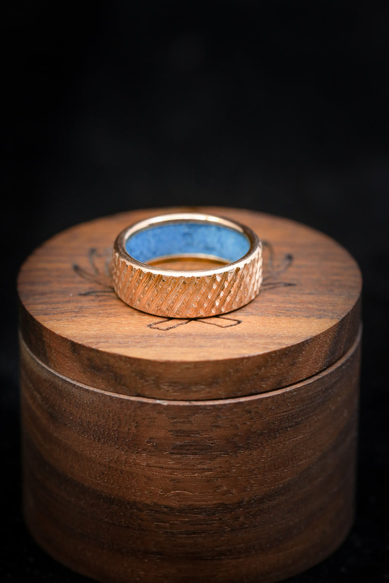14K GOLD TURQUOISE LINED WEDDING BAND WITH CROSSHATCHED FINISH (fully customizable)