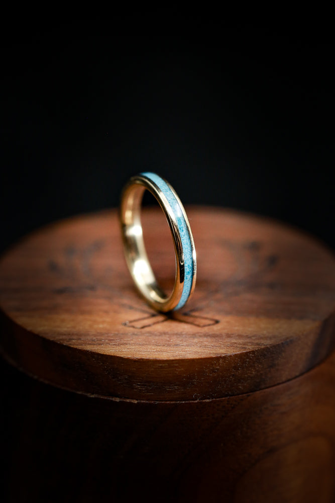 FIRE-TREATED BLACK ZIRCONIUM & TURQUOISE STACKING WEDDING BAND (available in silver, black zirconium, damascus steel & 14K rose, yellow, or white gold)