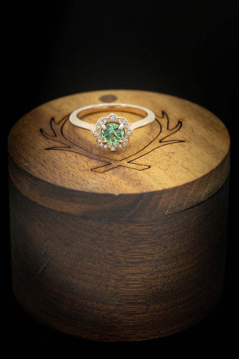 DEMANTOID GARNET ENGAGEMENT RING WITH DIAMONDS ACCENTS (fully customizable)