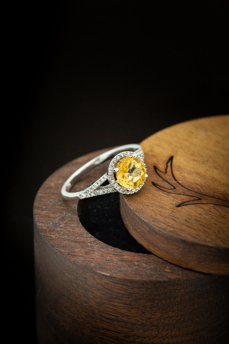 """AURA"" BIRTHSTONE RING WITH A CITRINE CENTER STONE & DIAMOND ACCENTS (FULLY CUSTOMIZABLE)"
