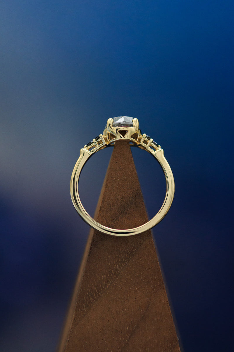 """BELATRIX"" ROSE CUT SALT AND PEPPER DIAMOND ENGAGEMENT RING WITH BLACK DIAMOND ACCENTS (fully customizable)"