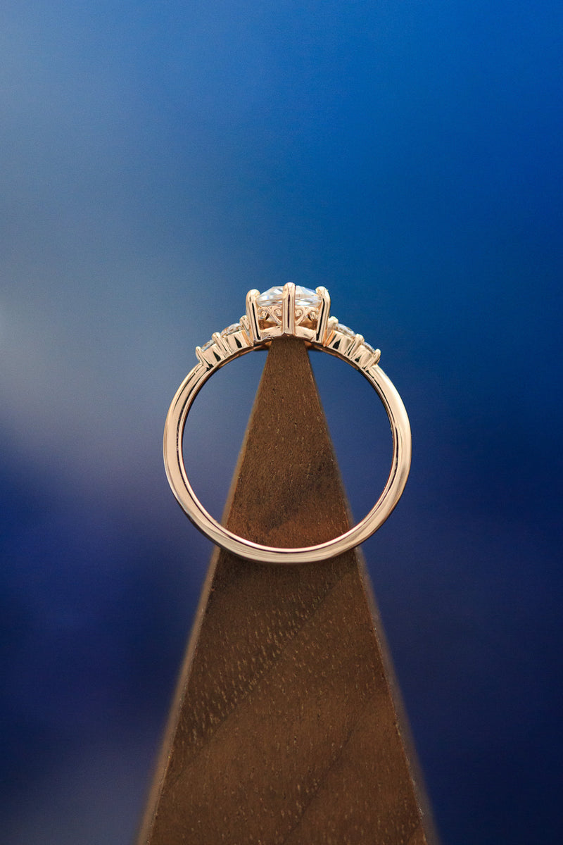 """GEMINI"" ROSE CUT MOISSANITE ENGAGEMENT RING WITH MOTHER PEARL & MONTANA SAPPHIRE RING GUARD (fully customizable)"