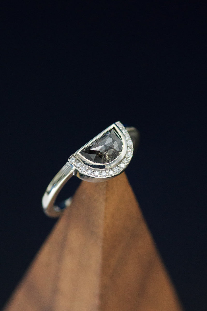 """PHOEBE"" HALF MOON SALT AND PEPPER DIAMOND ENGAGEMENT RING WITH A HALF DIAMOND HALO (fully customizable)"