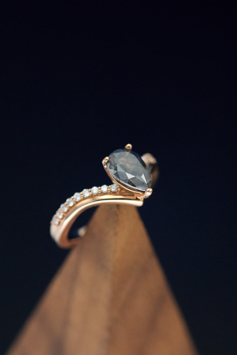"""IO"" PEAR SHAPED SALT AND PEPPER DIAMOND ENGAGEMENT RING WITH TRACER (fully customizable)"