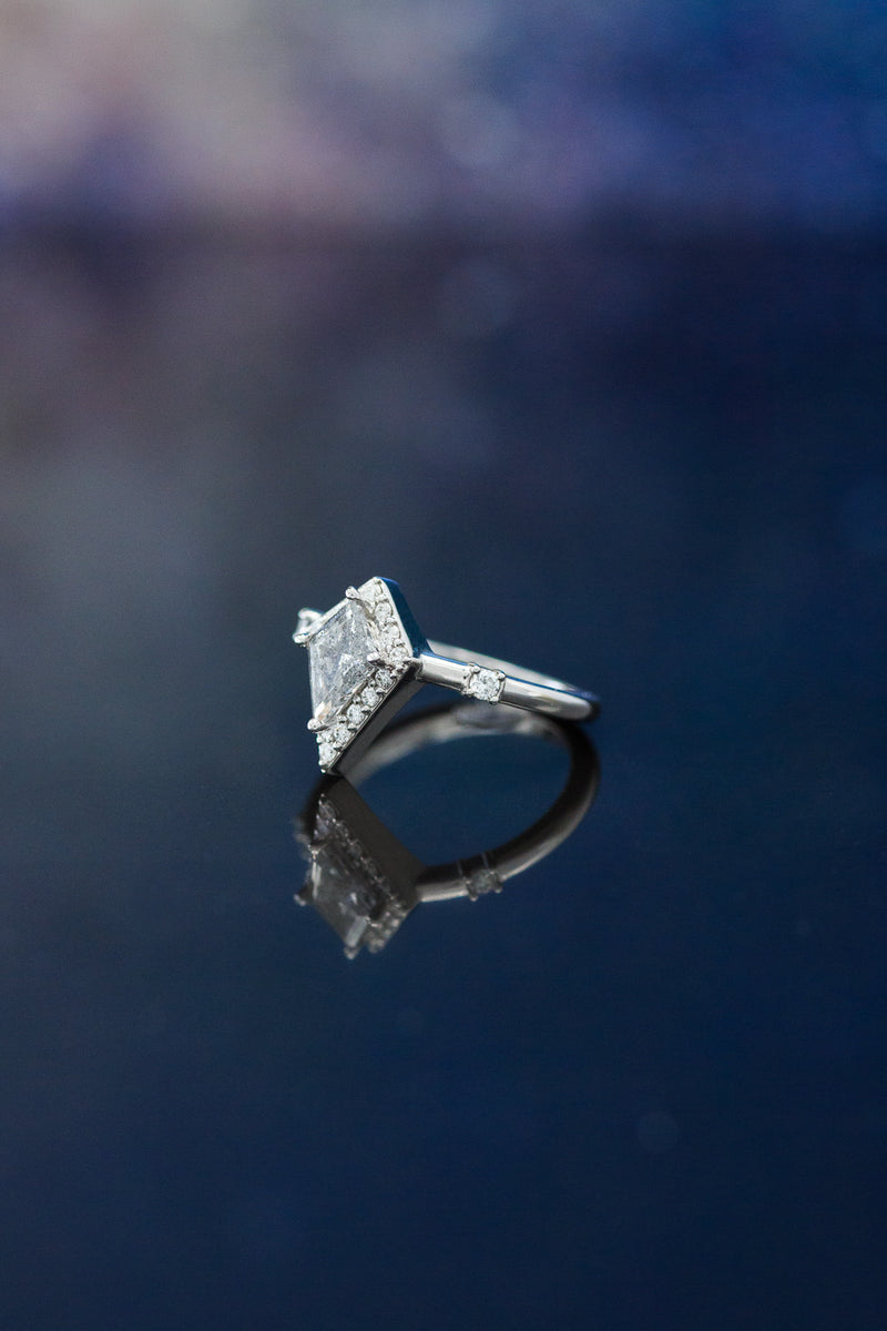 """LEIJA"" KITE CUT SALT AND PEPPER ENGAGEMENT RING WITH DIAMOND HALO & ACCENTS (fully customizable)"