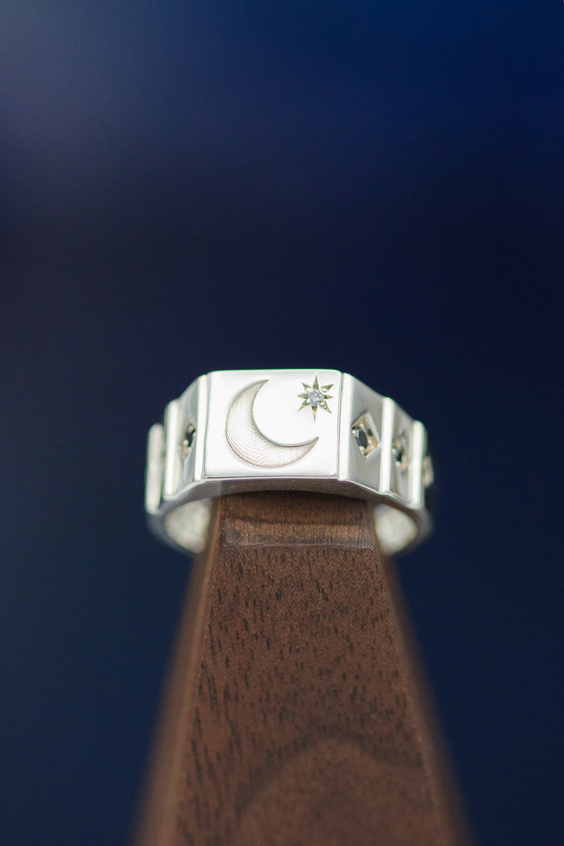 """PERSEUS"" 14K GOLD SIGNET RING WITH CRESCENT MOON ENGRAVING & DIAMOND ACCENTS (fully customizable)"
