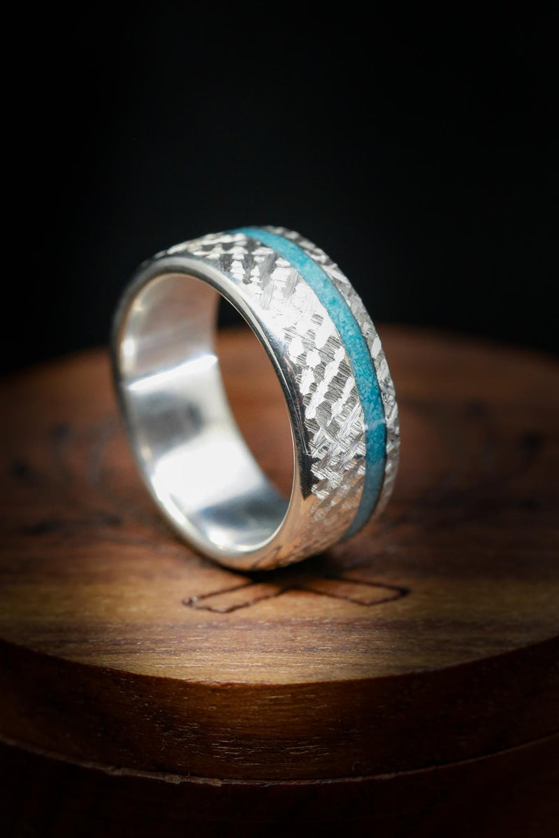 """VERTIGO"" IN CROSSHATCHED SILVER WITH AN OFFSET TURQUOISE INLAY (fully customizable)"