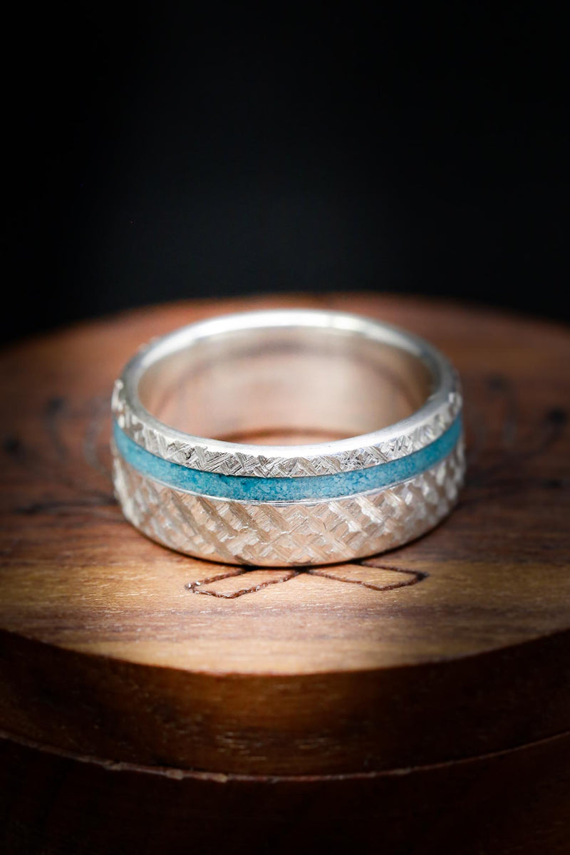 """VERTIGO"" IN CROSSHATCHED TITANIUM WITH TURQUOISE INLAY (fully customizable)"