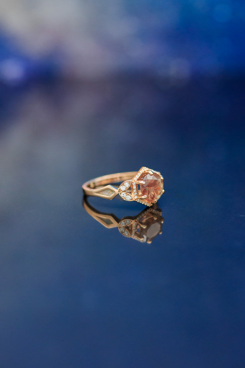 """LUCY IN THE SKY"" - SUNSTONE ENGAGEMENT RING WITH DIAMOND HALO (choose your own custom inlays!)"