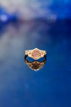 14K Rose Gold Engagement Ring With Sunstone & Diamond Halo - Staghead Designs