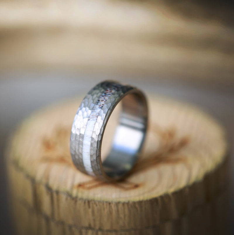 """VERTIGO"" IN HAMMERED TITANIUM WITH OFFSET ELK ANTLER INLAY (available in titanium, silver, black zirconium, damascus steel & 14K white, rose or yellow gold) -  Custom Rings Handcrafted By Staghead Designs"