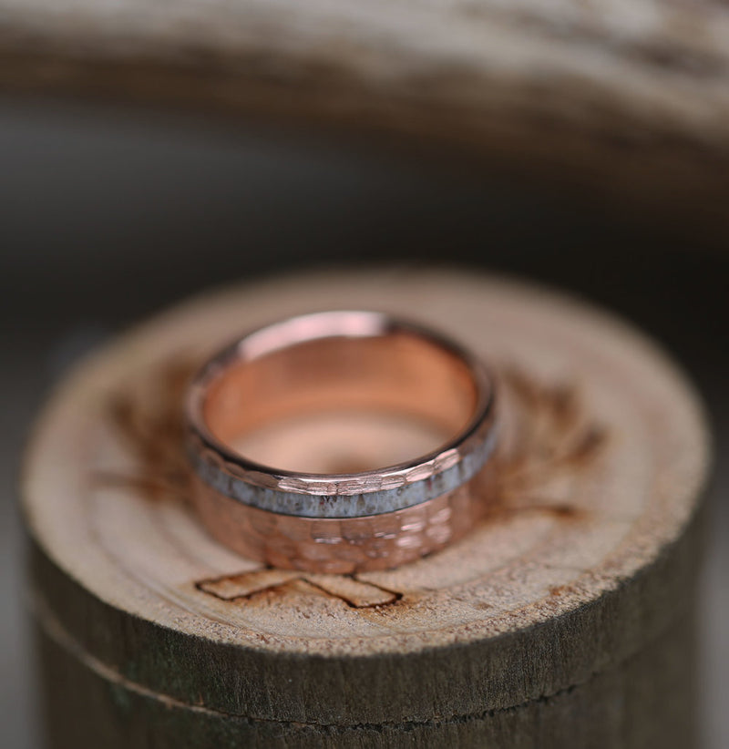 """VERTIGO"" IN 14K GOLD & ELK ANTLER WITH HAMMERED FINISH (available in 14K rose, yellow, & white) - Staghead Designs - Antler Rings By Staghead Designs"