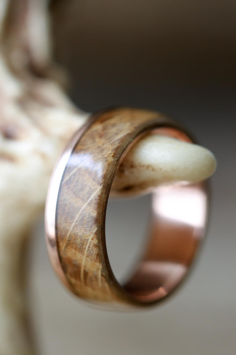 Whiskey Barrel Oak Wedding Ring with 14K Rose Gold Band - Staghead Designs