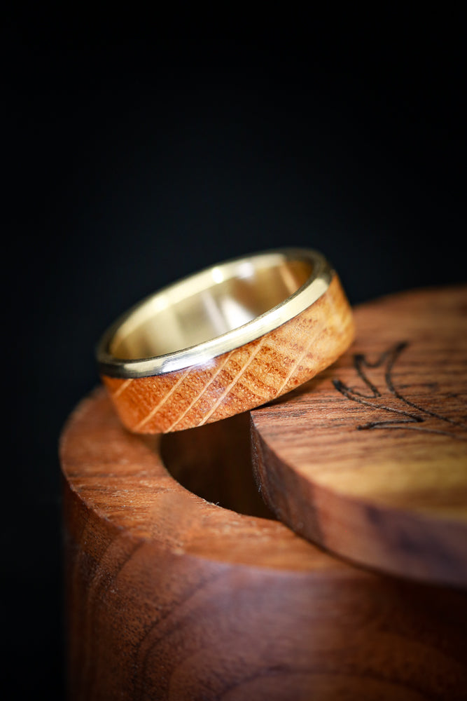 """EZRA"" IN GOLD & WHISKEY BARREL WOOD (available in 14K white, rose, or yellow gold)"