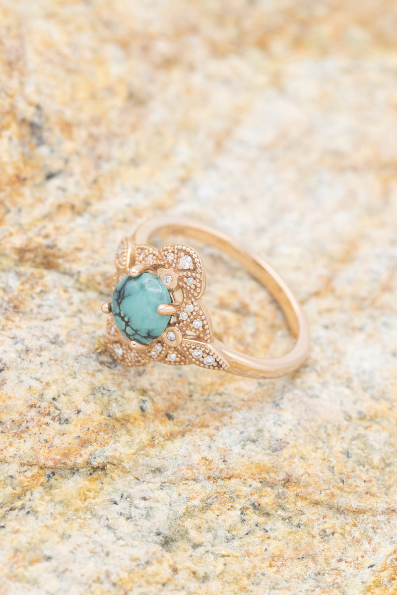 """DINA"" VINTAGE STYLE RING WITH TURQUOISE & DIAMOND ACCENTS (fully customizable"