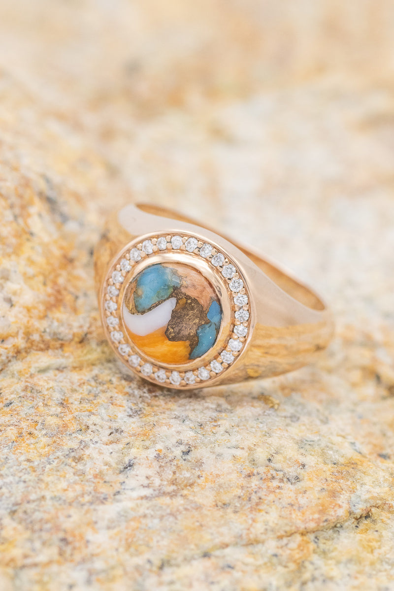 """ARLA"" BOHEMIAN STYLE RING WITH SPINY OYSTER TURQUOISE & DIAMOND ACCENTS (fully customizable"