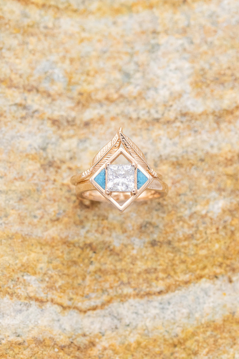 """FALA"" 14K GOLD WOMEN'S ENGAGEMENT RING WITH MOISSANITE AND TURQUOISE INLAYS WITH STACKER (fully customizable)"