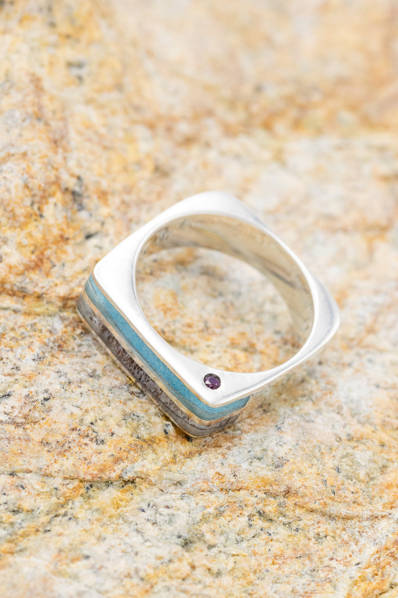 """MESA"" CUSTOM CAST WEDDING BAND WITH TURQUOISE & ANTLER INLAYS & SIDE SET RUBIES (fully customizable)"