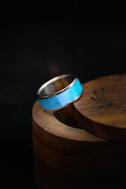 Men's Titanium Ring with Crushed Turquoise - Staghead Designs