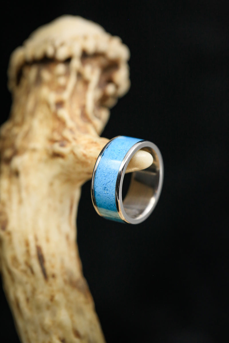 """RAINIER"" MEN'S OR WOMEN'S TURQUOISE WEDDING BAND (fully customizable)"