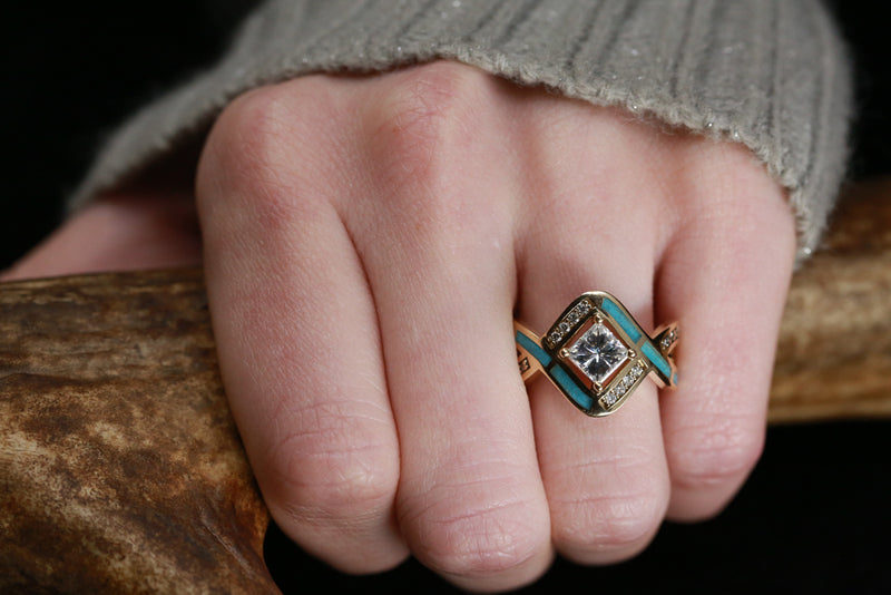 """HELIX"" 1ct MOISSANITE ENGAGEMENT RING WITH TURQUOISE INLAY ON 14K GOLD (available in 14K rose, yellow, or white gold)"