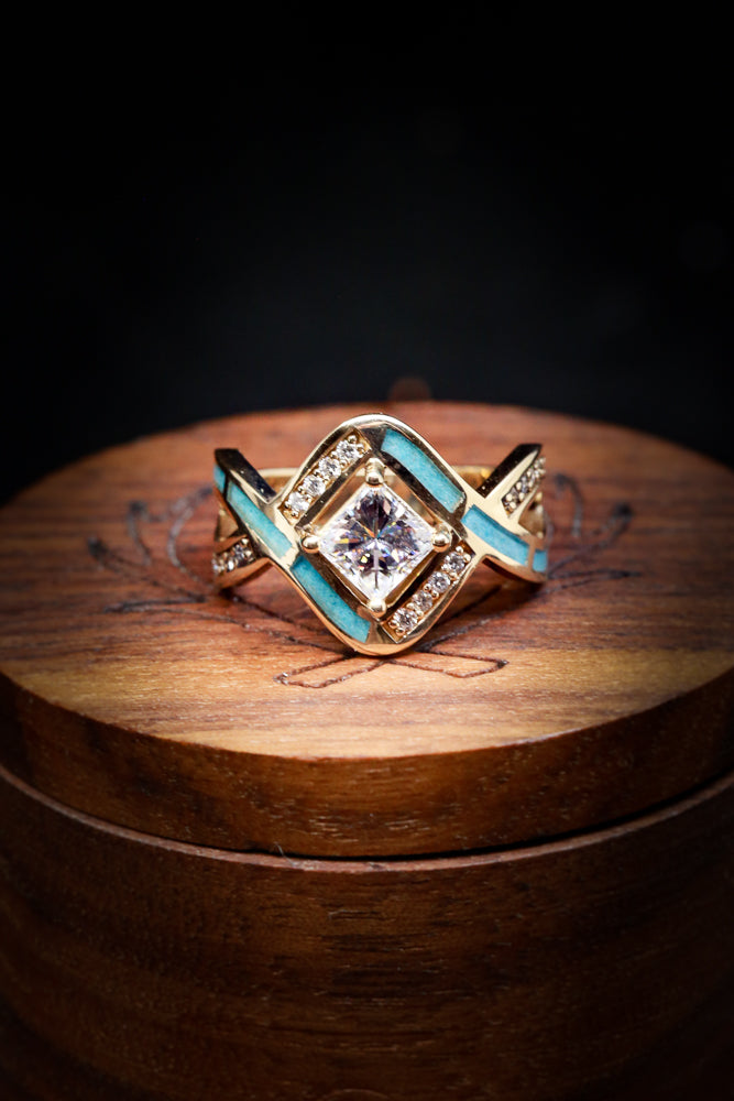 """HELIX"" MOISSANITE ENGAGEMENT RING WITH TURQUOISE INLAY (fully customizable)"