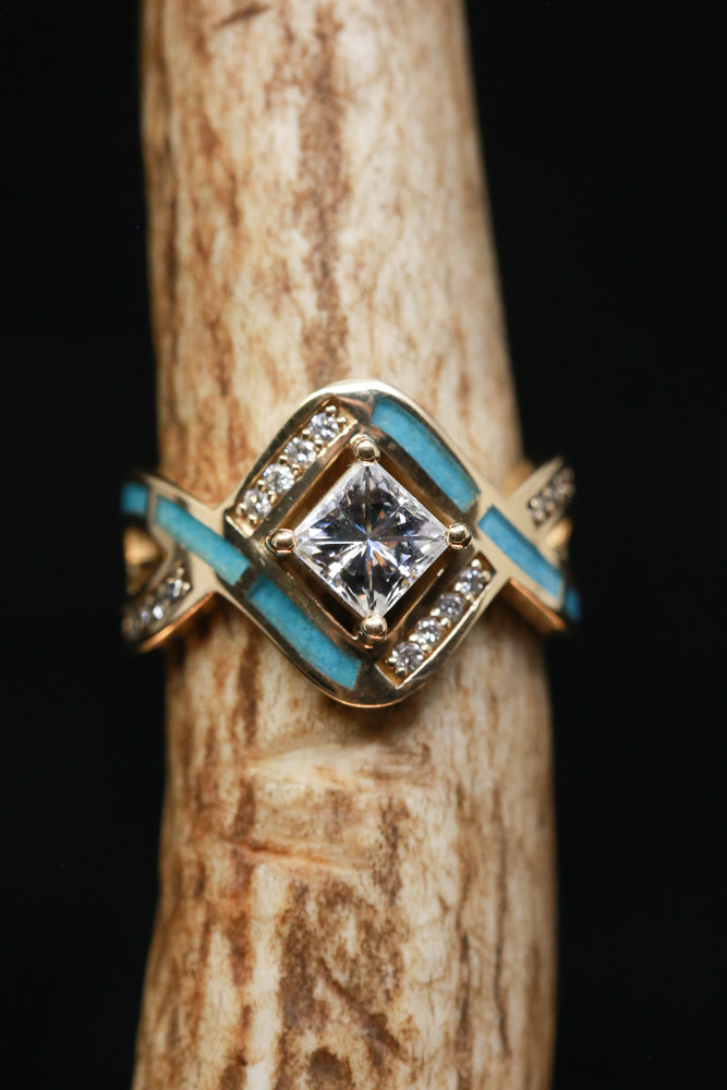 """HELIX"" 1ct MOISSANITE ENGAGEMENT RING WITH TURQUOISE INLAY (available in 14K rose, yellow, or white gold)"