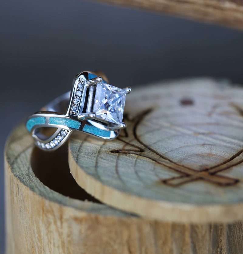 Turquoise and Moissanite Engagement Ring Diamond and Turquoise Womens Ring - Staghead Designs