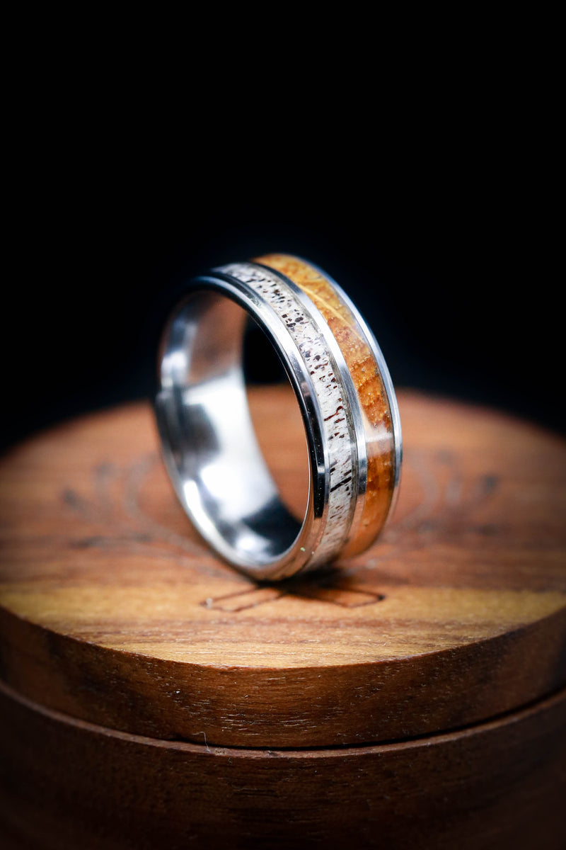 Tungsten Wedding Ring with Whiskey Barrel Wood & Antler - Staghead Designs