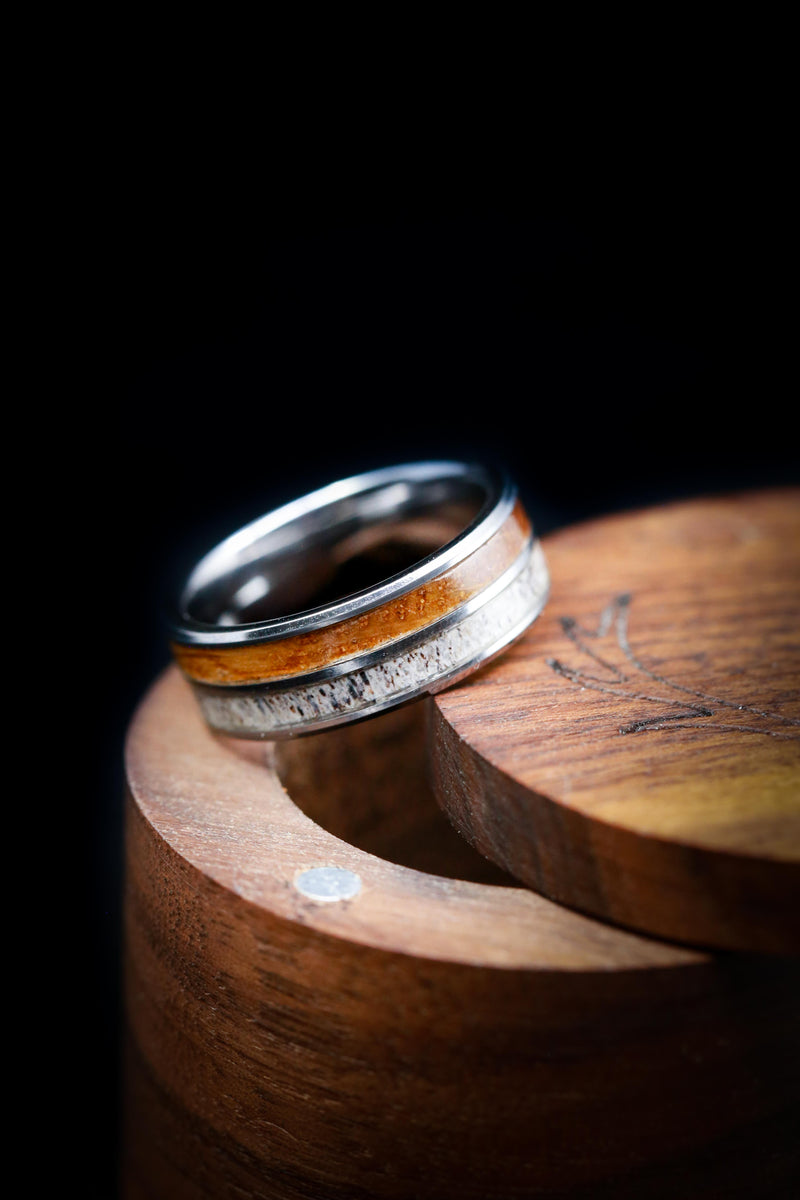 TUNGSTEN WEDDING BAND WITH WHISKEY BARREL OAK AND ANTLER (fully customizable)