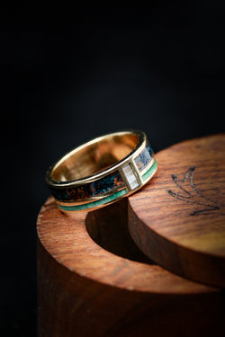 Mother of Pearl Wedding Ring with Malachite and Copper Patina - Staghead Designs